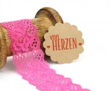 1 Meter elastische Spitze - 35mm - Blumen - Mini Schlaufen - Pink