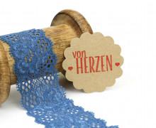 1 Meter elastische Spitze - 35mm - Blumen - Mini Schlaufen - Blau