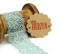 1 Meter elastische Spitze - 35mm - Blumen - Mini Schlaufen - Pastellgrün