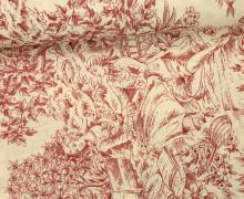 Feste Baumwolle - Dekostoff - Barock Stil - Blumen - Natur - Dunkelrot/Natur