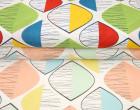 Feste Baumwolle - Dekostoff - Grafisch - ovale Formen - Linien - Gelb/Grün/Weiß