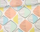Feste Baumwolle - Dekostoff - Grafisch - ovale Formen - Linien - Pastellgrün/Pastellblau/Weiß