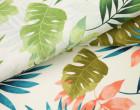 Feste Baumwolle - Dekostoff - Blätter - Palmenblätter - Leafes - Petrol/Lachsrosa/Weiß