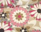 Feste Baumwolle - Dekostoff - Große Blüten - Blossom - Pink/Sand/Weiß