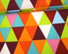 Feste Baumwolle - Dekostoff - Grafisch - Große Dreiecke - Triangles - Bordeaux/Grün/Orange