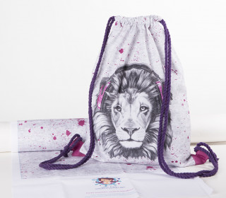 DIY-NÄHSET – Turnbeutel – Lion Sounds – pink – abby and me
