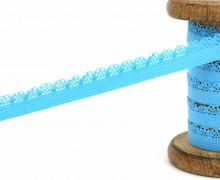 1m Gummi mit Zierabschluss - Zierborte - 10mm - Ziergummi - Cyanblau