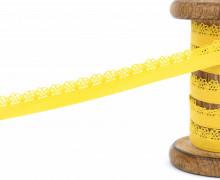 1m Gummi mit Zierabschluss - Zierborte - 10mm - Ziergummi - Sonnengelb