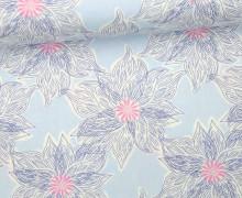Stoff - Blüten - Blumen - Gemalt - Voyage - Kate Spain - Babyblau