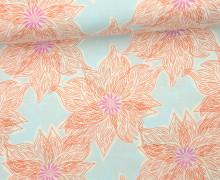 Stoff - Blüten - Blumen - Gemalt - Voyage - Kate Spain - Hellblau