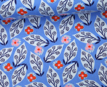Stoff - Blätter - Blüten - Blümchen - Voyage - Kate Spain - Mittelblau