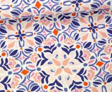 Stoff - Blumen - Voyage - Kate Spain - Weiß/Rosa