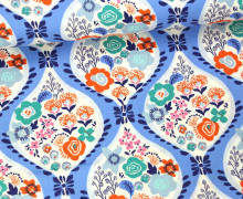 Stoff - Blumen - Girlande - Voyage - Kate Spain - Taubenblau