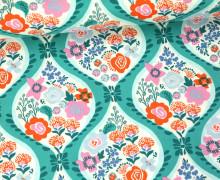 Stoff - Blumen - Girlande - Voyage - Kate Spain - Meergrün