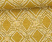 Feste Baumwolle - Dekostoff - Girlanden - Grafisch - Senfgelb
