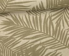 Feste Baumwolle - Dekostoff - Palmenwedel - Blätter - Beige