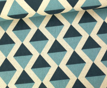 Feste Baumwolle - Dekostoff - Dreiecke - Geometrie - Hellblau/Dunkelblau