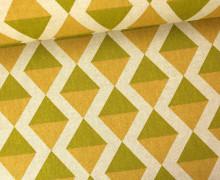 Feste Baumwolle - Dekostoff - Dreiecke - Geometrie - Senfgelb/Grün