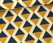 Feste Baumwolle - Dekostoff - Dreiecke - Geometrie - Senfgelb/Blau
