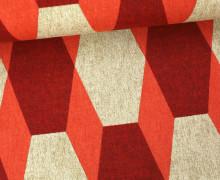 Feste Baumwolle - Dekostoff - Rauten - Geometrie - Orange/Rot