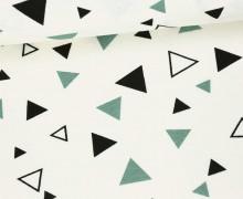 Feste Baumwolle - Dekostoff - Kleine Dreiecke - Geometrie - Weiß/Pastellgrün