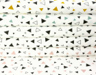 Feste Baumwolle - Dekostoff - Kleine Dreiecke - Geometrie - Weiß/Schwarz