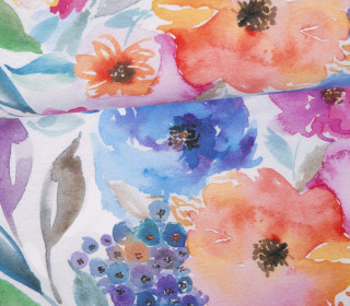 Jersey - Field of Flowers - Watercolor - Weiß - Bio Qualität - abby and me
