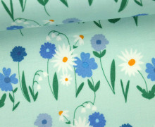 Stoff - Blumen - Wiese - Daisy Chain - Annabel Wrigley - Mintblau