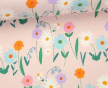 Stoff - Blumen - Wiese - Daisy Chain - Annabel Wrigley - Rosa
