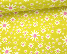 Stoff - Sternblumen - Wiese - Daisy Chain - Annabel Wrigley - Senfgelb