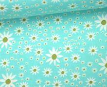 Stoff - Sternblumen - Wiese - Daisy Chain - Annabel Wrigley - Türkisblau