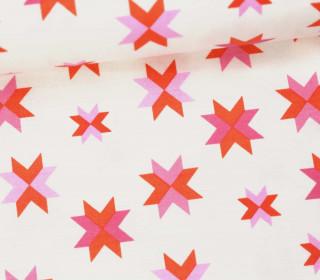 Stoff - Sterne - Grafisch - Daisy Chain - Annabel Wrigley - Weiß/Rosa