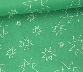 Stoff - Sterne - Linien - Daisy Chain - Annabel Wrigley - Grün