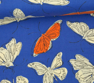 Stoff - Schmetterlinge - Butterfly - Wild Nectar - Crystal Manning - Royalblau