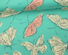 Stoff - Schmetterlinge - Butterfly - Wild Nectar - Crystal Manning - Mintgrün