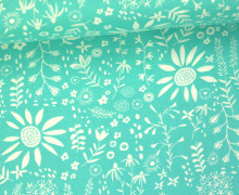 Stoff - Blumen - Wild Nectar - Crystal Manning - Mintblau