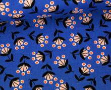 Stoff - Blumen - Retro - Wild Nectar - Crystal Manning - Royalblau