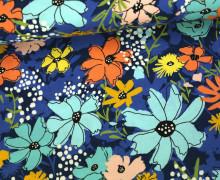 Stoff - Blumen - Floral - Wild Nectar - Crystal Manning - Royalblau