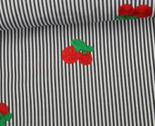 Fashionstoff - Kirschen - Streifen - Stickerei - Weiß/Anthrazit