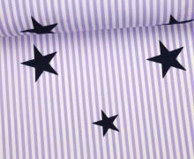Stoff - Stars and Stripes - Sterne - Streifen - Weiß/Flieder