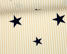 Stoff - Stars and Stripes - Sterne - Streifen - Weiß/Hellbeige