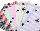 Stoff - Stars and Stripes - Sterne - Streifen - Weiß/Hellblau