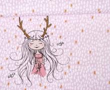 Sommersweat - GOTS - Paneel - Das Mädchen aus dem Zauberwald - rosa - Leah Nove - abby and me