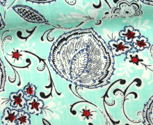 Blusenstoff - Leinen Look - Blätter - Blüten - Ranken - Spring Dream - Mint