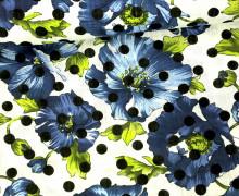 Blusenstoff - Leinen Look - Blumen - Punkte - Spring Dream - Blau