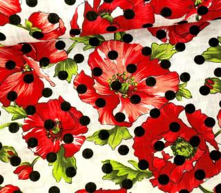 Blusenstoff - Leinen Look - Blumen - Punkte - Spring Dream - Rot