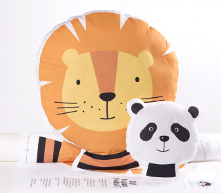 Kissenstoff - DIY - Löwe und Panda - süße Tierwelt - abby and me