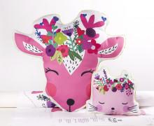 Kissenstoff - DIY - Reh und Katze - Blumen - süße Tierwelt - abby and me