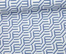 Viskose Jersey - Linien - Striche - Denim Days - Milliblus - Weiß