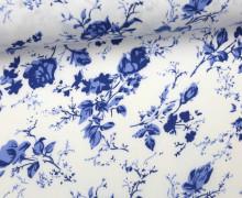 Stoff - Blumenwiese - Sweet Flowers - Blau/Weiß